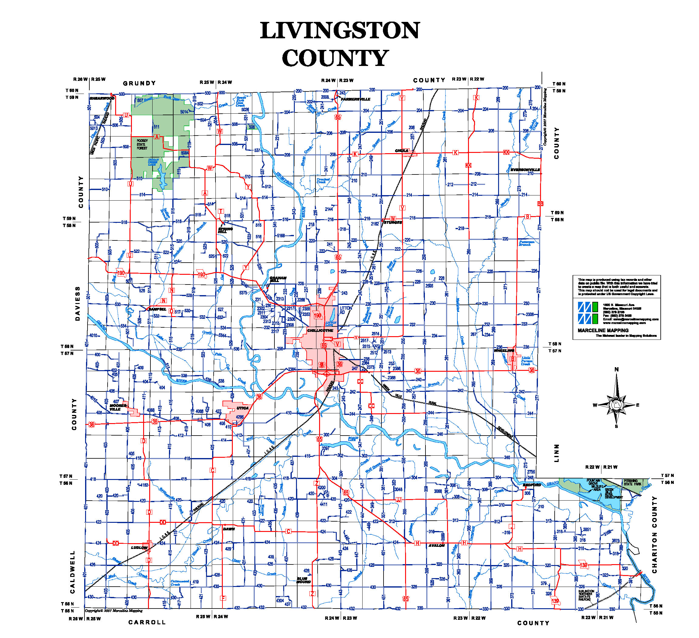 Map of Livingston County Missouri